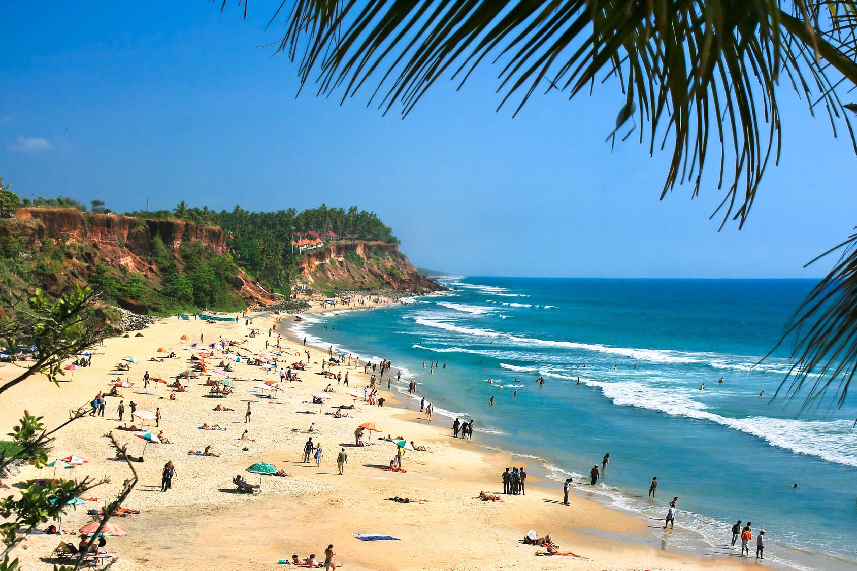 Destinations In India For Tourists - Main beach in Varkala, Kerala